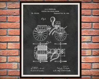 1885 Electric Fire Engine Patent Print - Fire House Decor - Firefighter Gift Idea - Fire Department Decor - Fire Truck Poster - Fireman Gift