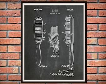 1934 Hair Brush Patent Print - Barber Shop Decor - Hair Salon Decor - Hairdresser Gift Idea - Bathroom Decor - Beauty Parlor Wall Art