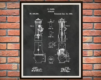 1889 Fire Hydrant Patent Print - Fire Hydrant Poster - Fire Hydrant Blueprint - Firehouse Decor - FireFighter Gift - Fire Hydrant Invention