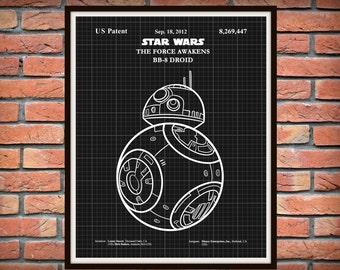 Star Wars BB-8 Patent Print - The Force Awakens Print - Star Wars Movie Poster - Star Wars Collector Gift Idea - Star Wars Patent Print