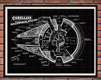 Star Wars Millennium Falcon Patent Print, Millennium Falcon Corellian Engineering Drawing, Millennium Falcon Blueprint, Falcon Poster