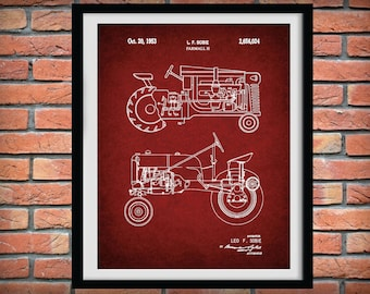 1953 Farmall H Tractor Patent Print - Farmall H Tractor Poster - Farm Equipment Patent - Farmhouse Decor - Farmall Tractor Blueprint