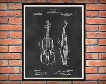 1921 Violin Patent Print - Violin Poster - Musical Instrument Patent - Musician Gift - Symphonic Decor - Orchestra Decor