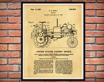 1927 International Harvester Tractor Patent Print or Poster - Agriculture Art - IHC Tractor - Farm Equipment Patent - Farmhouse Decor