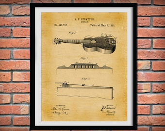 1893 Acoustic Guitar Patent Print - Rock Band Decor - Music Room Decor - Country Music Decor - Band Room Wall Art