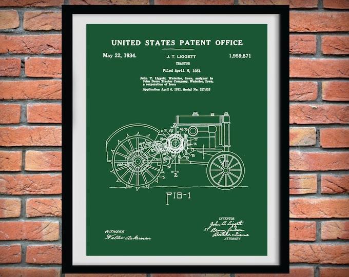 Featured listing image: 1931 John Deere Tractor Patent Print - Art Print - Farm Poster - Agriculture Decor - Farming - Farm Equipment Patent - Farmhouse Decor
