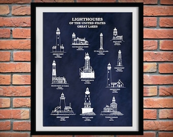 US Lighthouses of the Great Lakes Print, Nautical Decor, Split Rock, Toledo Harbor, Rock of Ages, Beach House Decor, Lighthouse Collector
