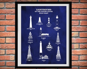 US Lighthouses of the Gulf Coast - Art Print  - Nautical Art - Marina Art - Sailor Art - Sabine - Boca Grande - Pensacola - Ship Shoal