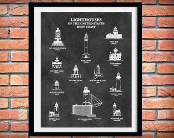 US Lighthouses of the West Coast - Art Print  - Nautical Art  Marina Art - Sailor Art - Point Sur Lighthouse - Tillamook Rock - Yaquina Head