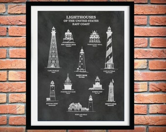 US Lighthouses of the East Coast - Lighthouse Poster - Lighthouse Collector Gift idea - Minots Ledge - Sandy Hook - Robbins Reef Lighthouse