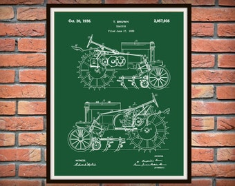 1935 John Deere B Tractor Patent Print - Poster - Agriculture Art - Farming - Farm Equipment Patent - Farm Decor - Farmhouse Decor