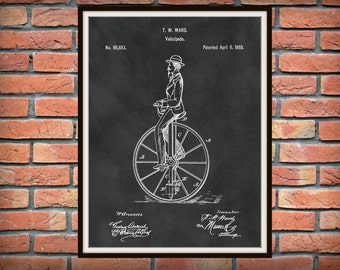 Patent 1869 Velocipede Bicycle Unicycle Art Print - Poster - Bike -  Antique Unicycle Design Home Office Decor