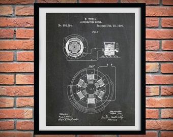 Patent 1896 Tesla Alternating Motor - Art Print - Poster - Science Lab - Electrical Engineer Wall Art - Electricity Art