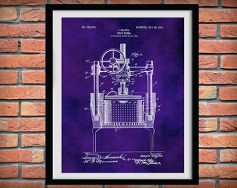 1903 Wine Press Patent Print - Wine Press Poster - Wine Collector Decor - Winery Decor - Wine Press Invention - Wine Connoisseur Gift Idea