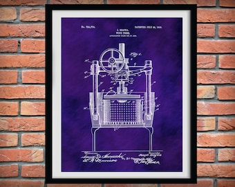 Patent 1903 Wine Press - Wine Art Print Poster - Wall Art - Winery Wall Art - Bacchus - Dionysus - Wine Tour Art