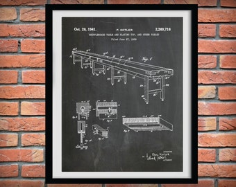 Patent 1941 Shuffleboard Table Patent Art Print - Poster Print - Game Room Wall Art