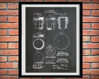 Patent 1892 Beer Bottle Sealer Device - Art Print Poster - Wall Art - Beer Brewing - Tavern Art - Bar Room Art