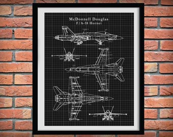 F-18 Hornet Patent Drawing Print Bomber Plane McDonnell Douglas - Boeing F-18 Combat Jet Poster - Military Fighter Plane - Air Force Decor