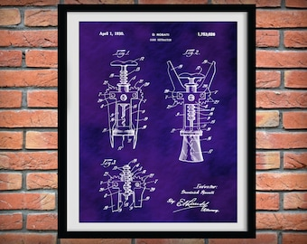 Patent 1930 Wine Cork Extractor - Wine Cork Screw - Wine Art Print Poster - Wall Art - Winery Wall Art - Bacchus - Dionysus - Wine Tour Art