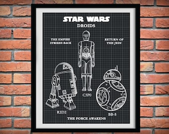 Star Wars Droids - R2D2 - C3P0 - BB-8 - The Empire Strikes Back - Return of the Jedi - The Force Awakens - Star Wars Droid Collection Poster