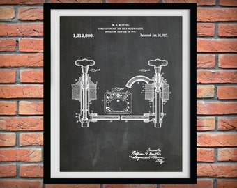Patent 1917 Faucet - At Print - Bathroom Wall Art  - Poster Print - Wall Art - Toiletry Art - Lavatory Art