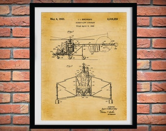 Patent 1943 Sikorsky Helocopter - Art Print - Wall Art - Poster - Aeronautic - Aviation - Airport Art - Direct Airlift Aircraft - Chopper