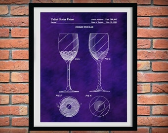 Patent 1988 Wine Glass - Wine Art Print Poster - Wall Art - Winery Wall Art - Bacchus - Dionysus - Wine Tour Art