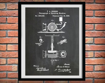 Patent 1878 Phonograph - Thomas Edison Invention - Art Print - Poster - Wall Art - Record Player Patent - Music Room Art