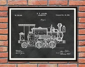 Patent 1886 Locomotive Art Print - Train Patent - Poster - Wall Art - Railroad Art - Railway Station Art - Train Station Wall Art