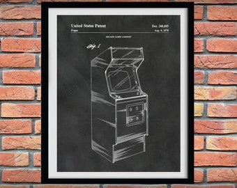 1978 Arcade Video Game Cabinet Patent Print - Arcade Console Game Poster - Video Arcade Game Blueprint - Arcade Gaming Console