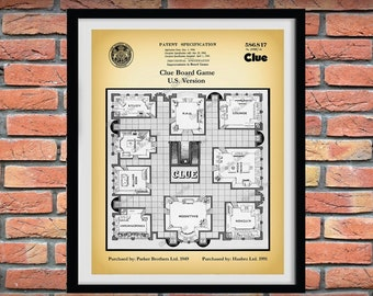 1991 Clue Game Patent Print, Hasbro US Version Clue Board Game from old UK Cluedo Patent Art, Clue Game Blueprint, Clue Game Board Poster