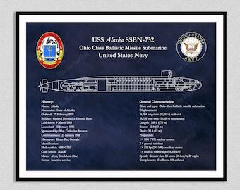 USS Alaska SSBN-732 Ohio Class Submarine Blueprint, USS Alaska Submarine Poster, Ohio Class Ballistic Missile Submarine Drawing