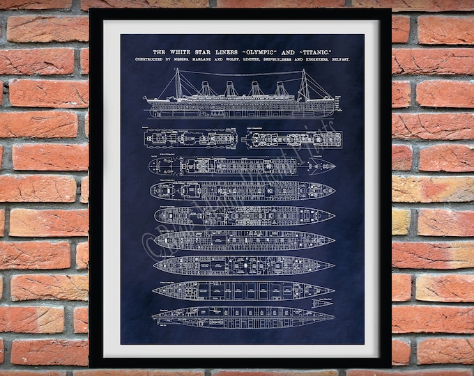 Featured listing image: R.M.S. Titanic Poster - Titanic Ship - Titanic Poster - Titanic Blueprint - Titanic Decor - Titanic Cutaway Drawing - Titanic Deck Plans