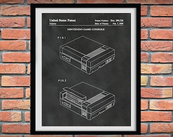1989 Nintendo Patent Print, Nintendo NES Video Game Patent Print, Nintendo Video Game Console Art, Nintendo NES Blueprint, Game Room Decor