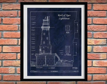 1910 Rock of Ages Lighthouse Drawing, Rock of Ages Lighthouse Blueprint, Rock of Ages Island Lighthouse Schematic, Michigan Lighthouse