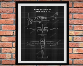 Piper PA-32R-301T Drawing Piper Saratoga ii TC Poster - Piper Saratoga ii TC Blueprint, Aviation Decor