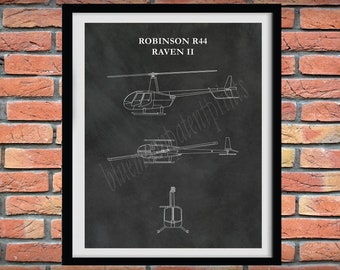Robinson R44 Helicopter Drawing - R44 Raven II Poster, Robinson R44 Raven II Blueprint, Aviation Decor