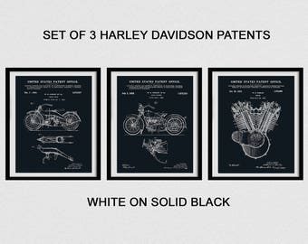Set of 3 Harley Patent Prints - 1919 Motorcycle - 1928 Motorcycle - 1919 F-Head Engine Patent - Poster - Harley Davidson Patent Prints