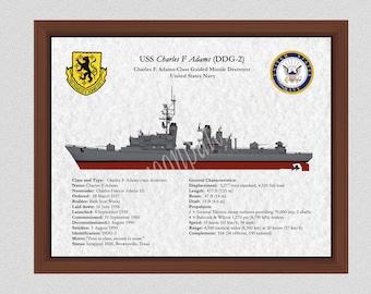 USS Charles F Adams DDG-2 Destroyer Drawing, Charles F. Adams-Class Destroyer Drawing, Adams Class Destroyer Blueprint, US Navy Art Print