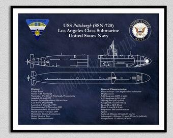 USS Pittsburgh SSN-720 Submarine Blueprint, Los Angeles Class Submarine Drawing, Uss Pittsburgh Ssn-720 Schematic, US Navy Wall Art Print