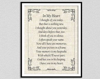 In My Heart Bereavement Poem Art Print, From The Heart Inspirational Poem Giclee Print, Mourning Poem Wall Art, Grief Poem, In Memoriam Poem