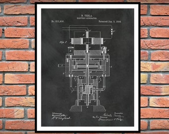 1894 Tesla Electric Generator Patent Print - Nikola Tesla Science - Engineer Gift - Technology Art - Tesla Invention - Electrician Gift