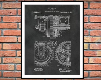 1912 Gear Patent Print Vers #1 - Industrial Decor - Mechanic Decor - Engineering Gift - Industrial and Mechanical Art - Gears Art, Motor Art