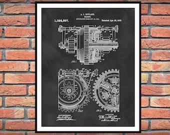 1912 Gear Patent Print Vers #1 - Industrial Decor - Mechanic Decor - Engineering Gift - Industrial and Mechanical Art - Gears Art, Motor Art