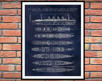 R.M.S. Lusitania Poster - Lusitania Ship Print - Lusitania Blueprint - Lusitania Deck Plans - Lusitania Art Print - Nautical Decor