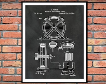 1896 Tesla Patent Print Method of Operating ARC Lamps - Nikola Tesla Science Poster - Electrical Engineer Decor - Technology  - Tesla Decor