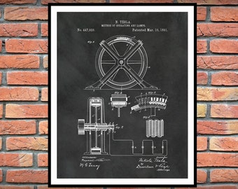 1896 Tesla Method of Operating ARC Lamps Patent Print - Nikola Tesla Science Poster - Electrical Engineer Decor - Technology Art