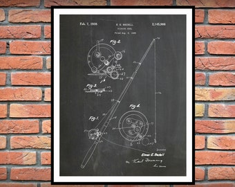 1939 Fishing Reel Patent Print - Fly Fishing Reel Wall Art Print - Fishing Camp Decor - Fishing Tackle Wall Art - Fishman Gift Idea