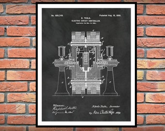 1898 Tesla Electric Circuit Controller Patent Print - Science Lab - Tesla Engineer Gift - Nikola Tesla Invention -