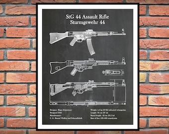 1942 MP 44 StG44 Assault Rifle Print - German Semi-Automatic Firearm - WW2 Rifle - NRA Decor - Sturmgewehr 44 - MP44 Patent - Storm Rifle
